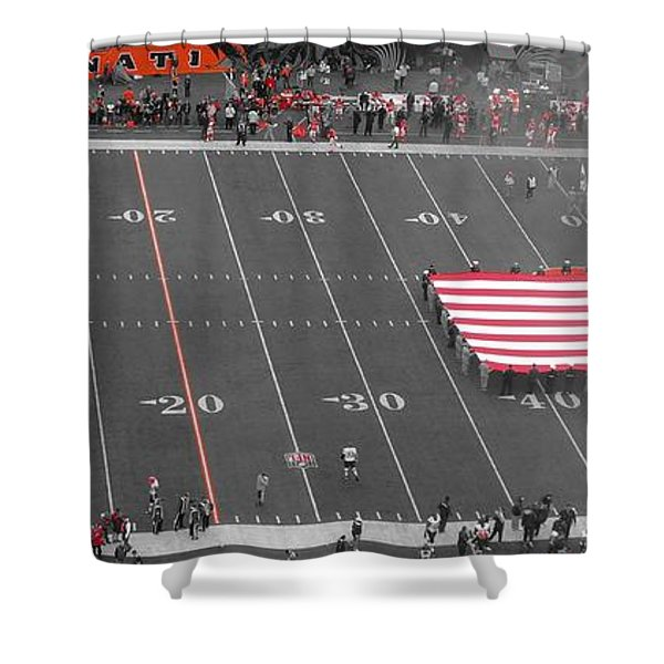 American Flag At Paul Brown Stadium Shower Curtain by Dan Sproul