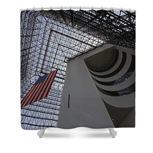 American Flag at the JFK Library Shower Curtain by Juergen Roth