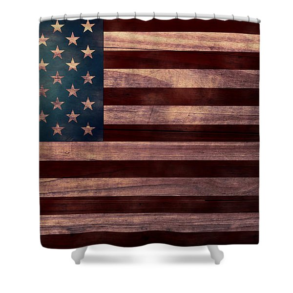 American Flag I Shower Curtain by April Moen