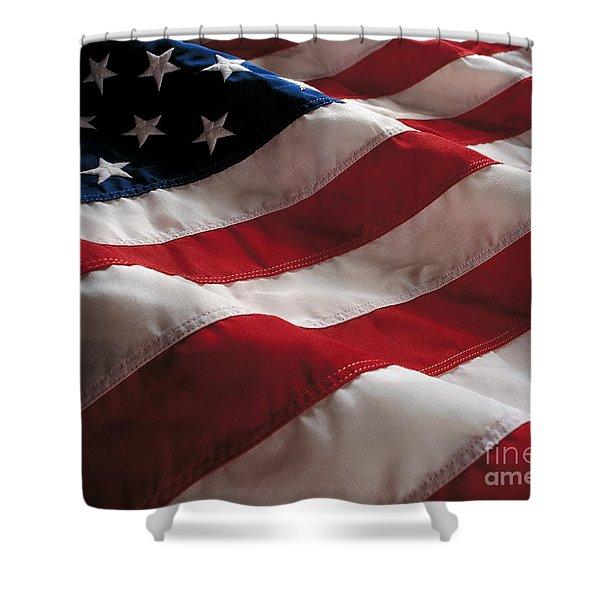 American Flag Shower Curtain by Jon Neidert
