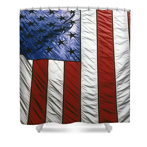 American flag Shower Curtain by Tony Cordoza