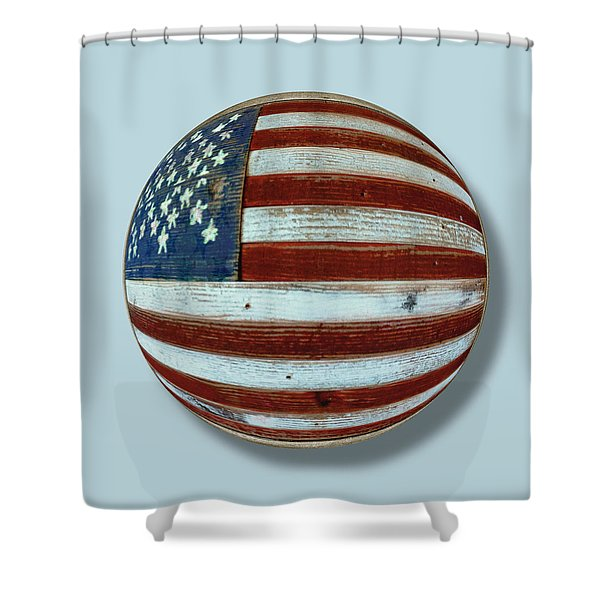 American Flag Wood Orb Shower Curtain by Tony Rubino
