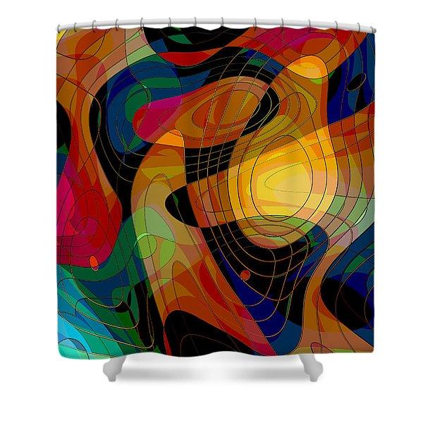 American Football Player Shower Curtain by Klara Acel