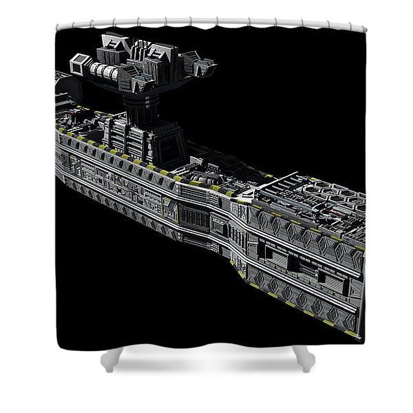 American Orbital Weapons Platform Shower Curtain by Rhys Taylor