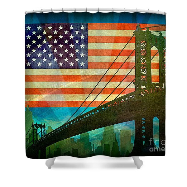 American Pride Shower Curtain by Bedros Awak
