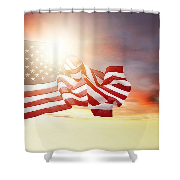 American pride Shower Curtain by Les Cunliffe