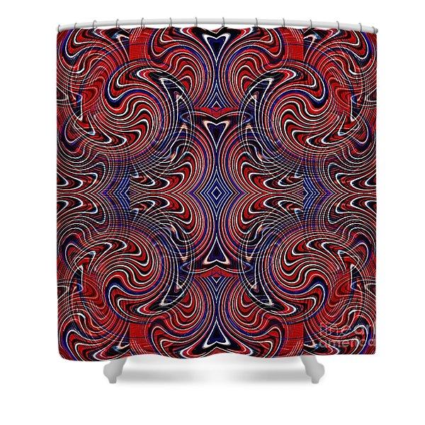 Americana Swirl Design 4 Shower Curtain by Sarah Loft