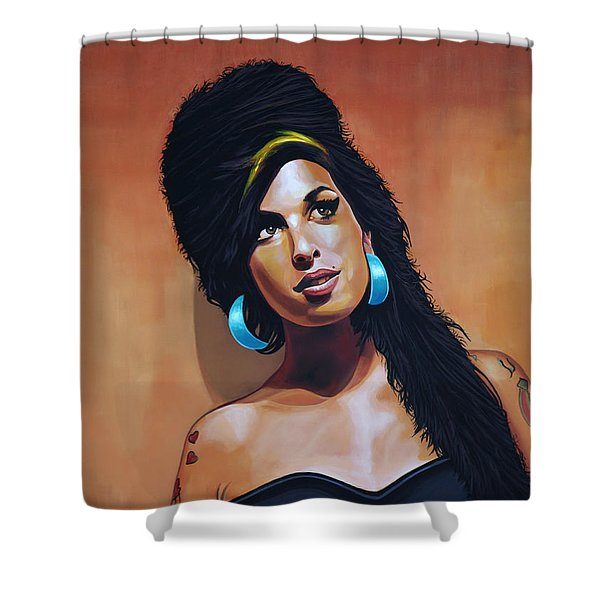 Amy Winehouse Shower Curtain by Paul  Meijering