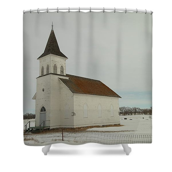 AN OLD CHURCH IN NORTH DAKOTA Shower Curtain by Jeff  Swan