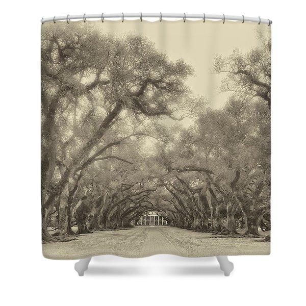 And Time Stood Still sepia Shower Curtain by Steve Harrington