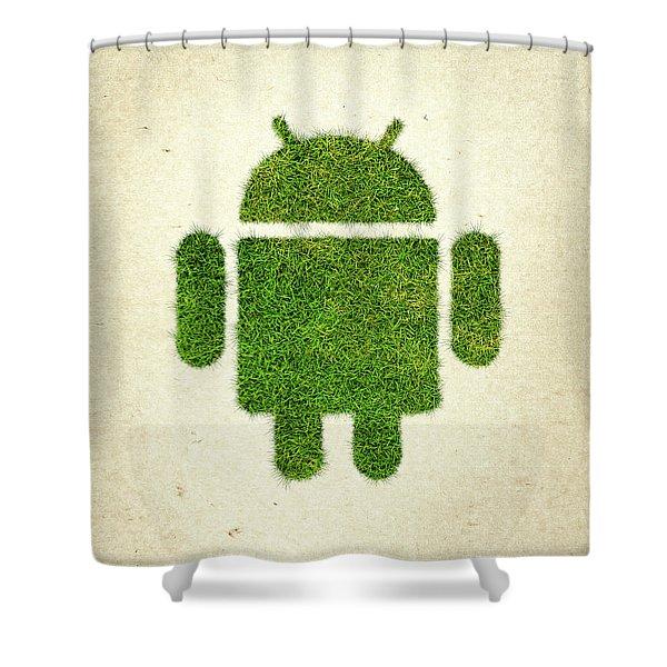 Andoird Grass Logo Shower Curtain by Aged Pixel