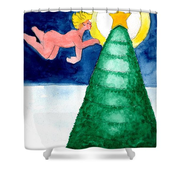 Angel And Christmas Tree Shower Curtain by Genevieve Esson