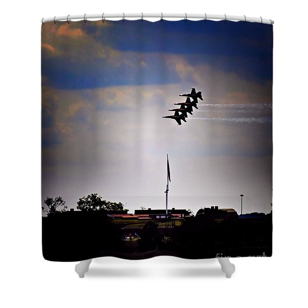Angels Over Ft. Mchenry 2 Shower Curtain by Robert McCubbin