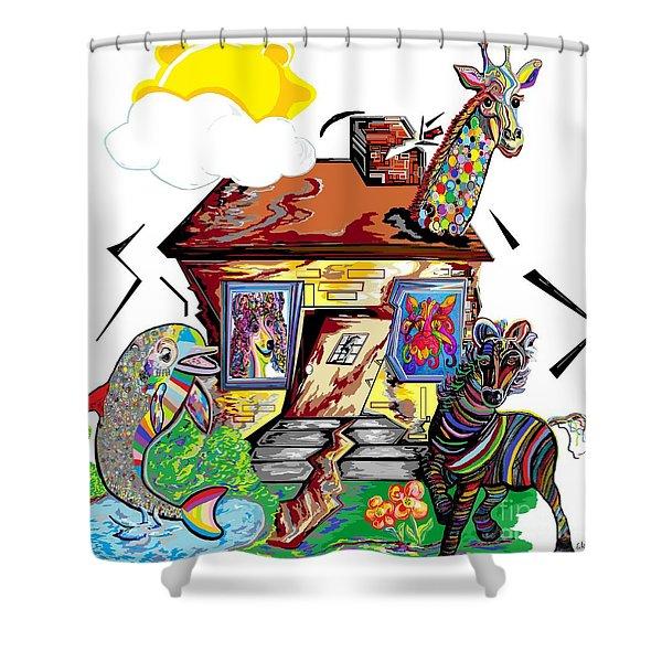 Animal House Shower Curtain by Eloise Schneider