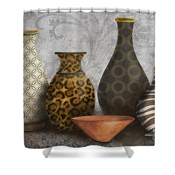 Animal Print Vase Still Life-A Shower Curtain by Jean Plout