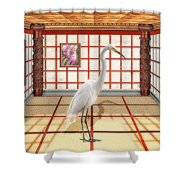 Animal - The Egret Shower Curtain by Mike Savad