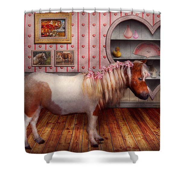 Animal - The Pony Shower Curtain by Mike Savad