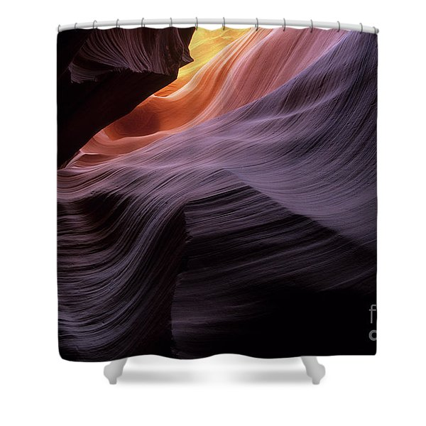 Antelope Canyon Movement In Stone Shower Curtain by Bob Christopher