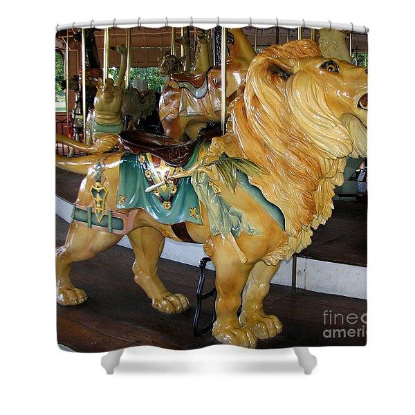 Antique Dentzel Menagerie Carousel Lion Shower Curtain by Rose Santuci-Sofranko