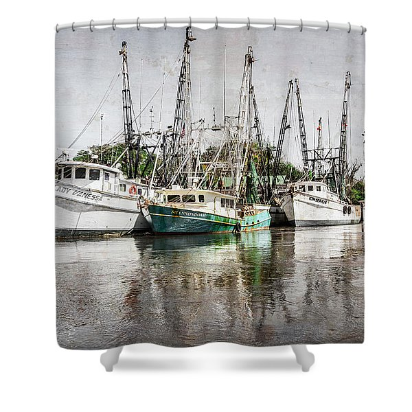 Antique Fishing Boats Shower Curtain by Debra and Dave Vanderlaan