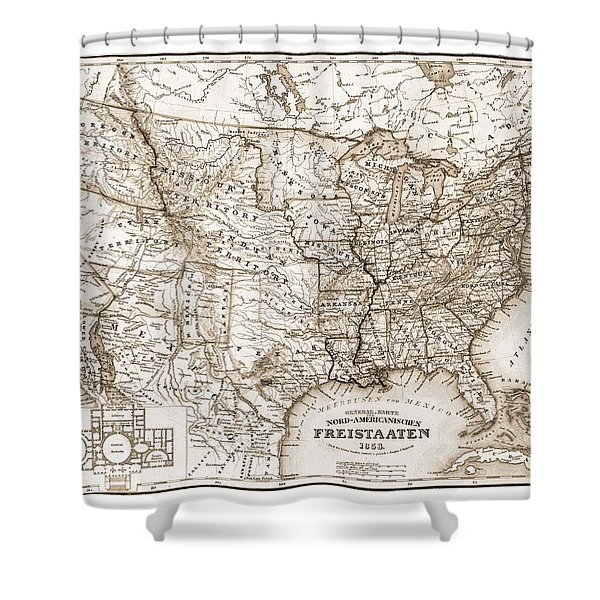 Antique Map 1853 United States Of America Shower Curtain by Dan Sproul