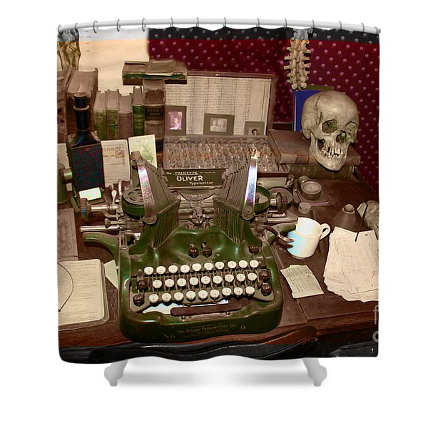 Antique Oliver Typewriter on Old West Physician Desk Shower Curtain by Janice Rae Pariza