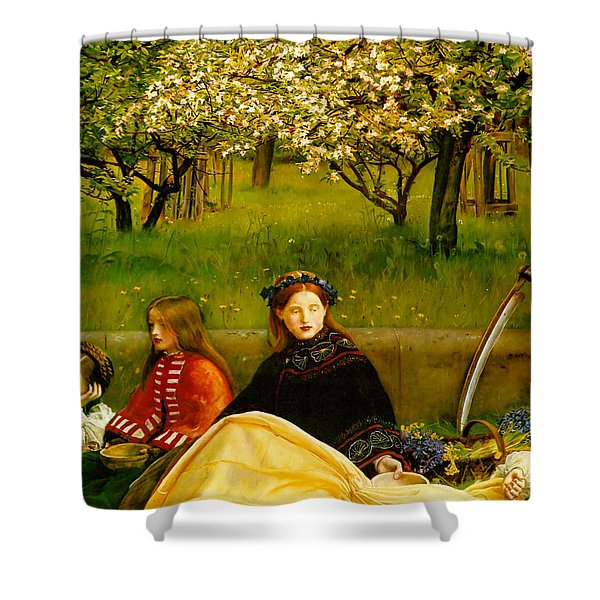 Apple Blossoms Shower Curtain by John Everette Millais