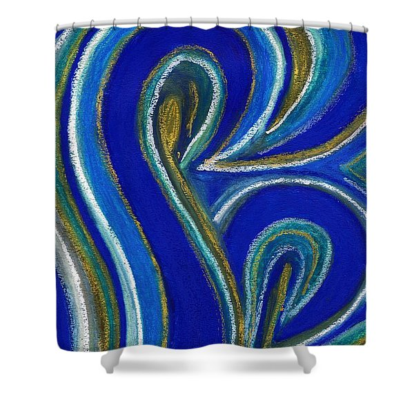 Aqua In Motion IIi Shower Curtain by Carla Sa Fernandes