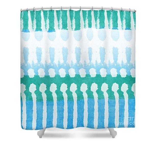 Aqua Shower Curtain by Linda Woods