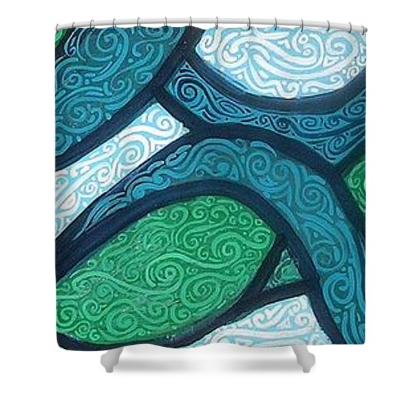 Aqua Motion Shower Curtain by Genevieve Esson