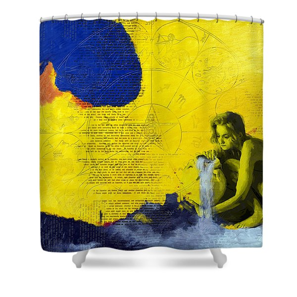 Aquarius Abstract Shower Curtain by Corporate Art Task Force