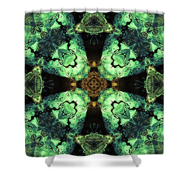 Aquatic Lace 10 Shower Curtain by Shawna  Rowe