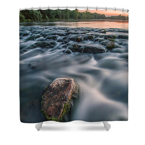 Aquatic Metalic Shower Curtain by Davorin Mance