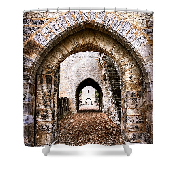 Arches of Valentre bridge in Cahors France Shower Curtain by Elena Elisseeva