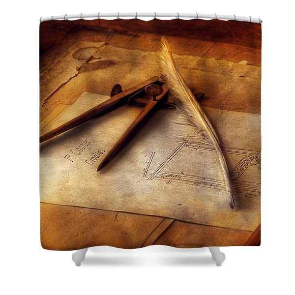 Architect - The Draftsman Shower Curtain by Mike Savad