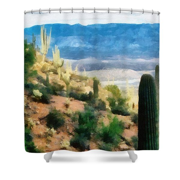 Arizona Desert Heights Shower Curtain by Michelle Calkins