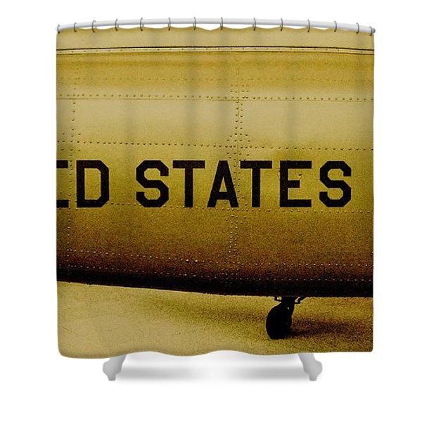 Army Chopper Shower Curtain by Benjamin Yeager