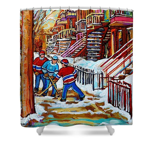 Art Of Verdun Staircases Montreal Street Hockey Game City Scenes By Carole Spandau Shower Curtain by Carole Spandau