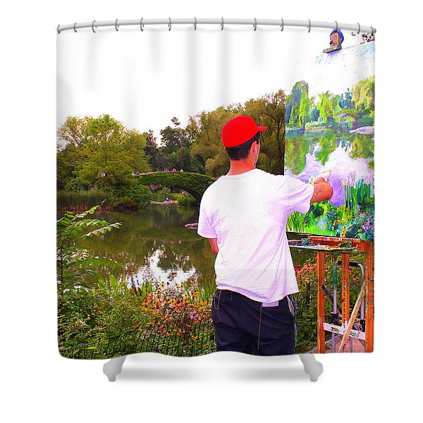 Artist At Work In Central Park Shower Curtain by  Photographic Art and Design by Dora Sofia Caputo