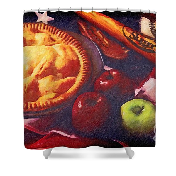As American as Baseball and Apple Pie Shower Curtain by Lianne Schneider
