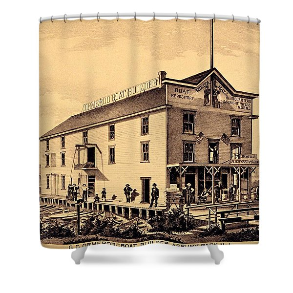 Asbury Park New Jersey Ormerod Boat Builder Shower Curtain by Movie Poster Prints