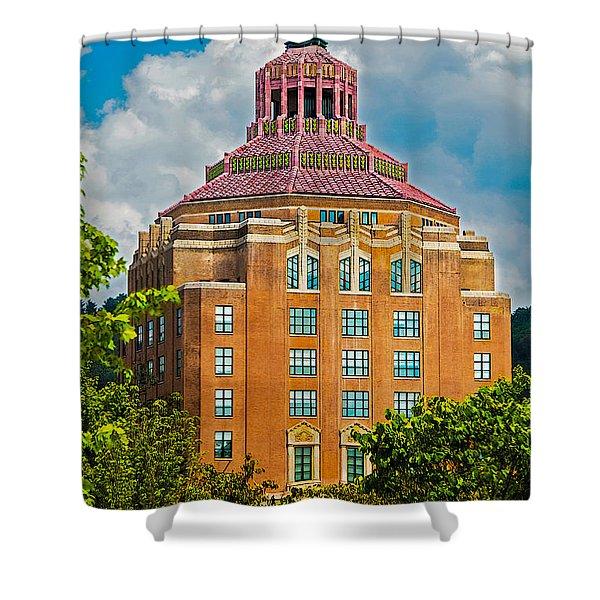Asheville City Hall Shower Curtain by John Haldane
