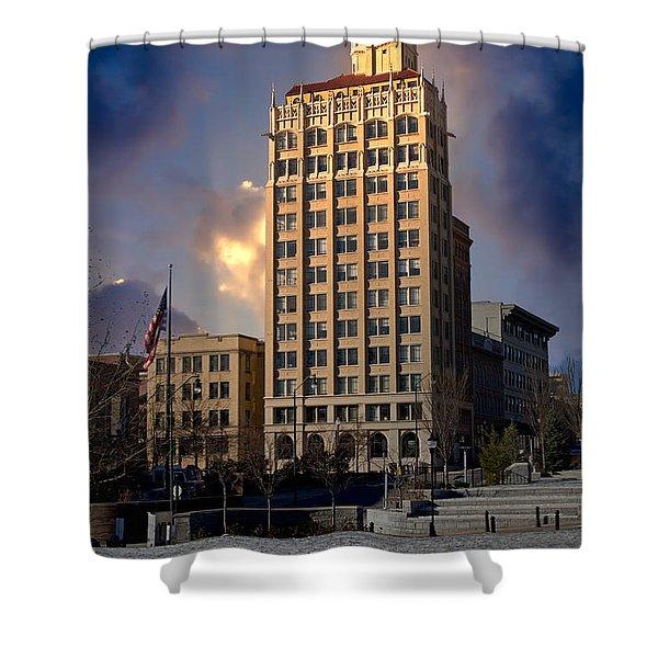 Ashevilles Jackson Building Shower Curtain by John Haldane