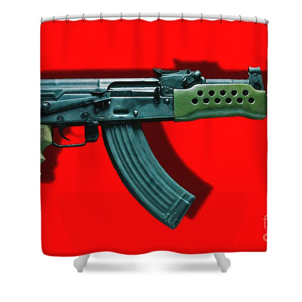 Assault Rifle Pop Art - 20130120 - v1 Shower Curtain by Wingsdomain Art and Photography