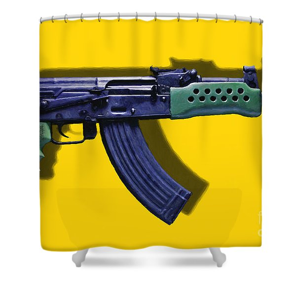 Assault Rifle Pop Art - 20130120 - v2 Shower Curtain by Wingsdomain Art and Photography
