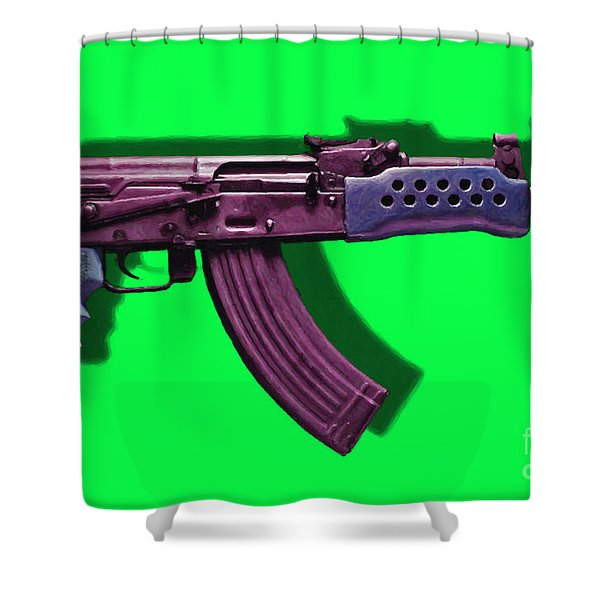 Assault Rifle Pop Art - 20130120 - v3 Shower Curtain by Wingsdomain Art and Photography
