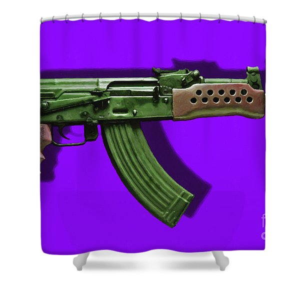 Assault Rifle Pop Art - 20130120 - v4 Shower Curtain by Wingsdomain Art and Photography