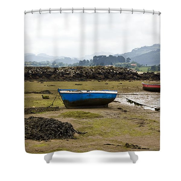 Asturias Seascape With Boats Shower Curtain by Frank Tschakert