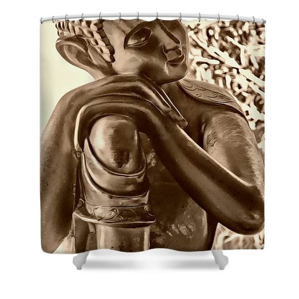 At Peace Sepia Shower Curtain by Cheryl Young