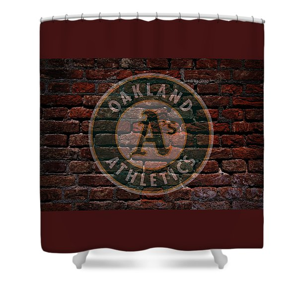 Athletics Baseball Graffiti on Brick  Shower Curtain by Movie Poster Prints